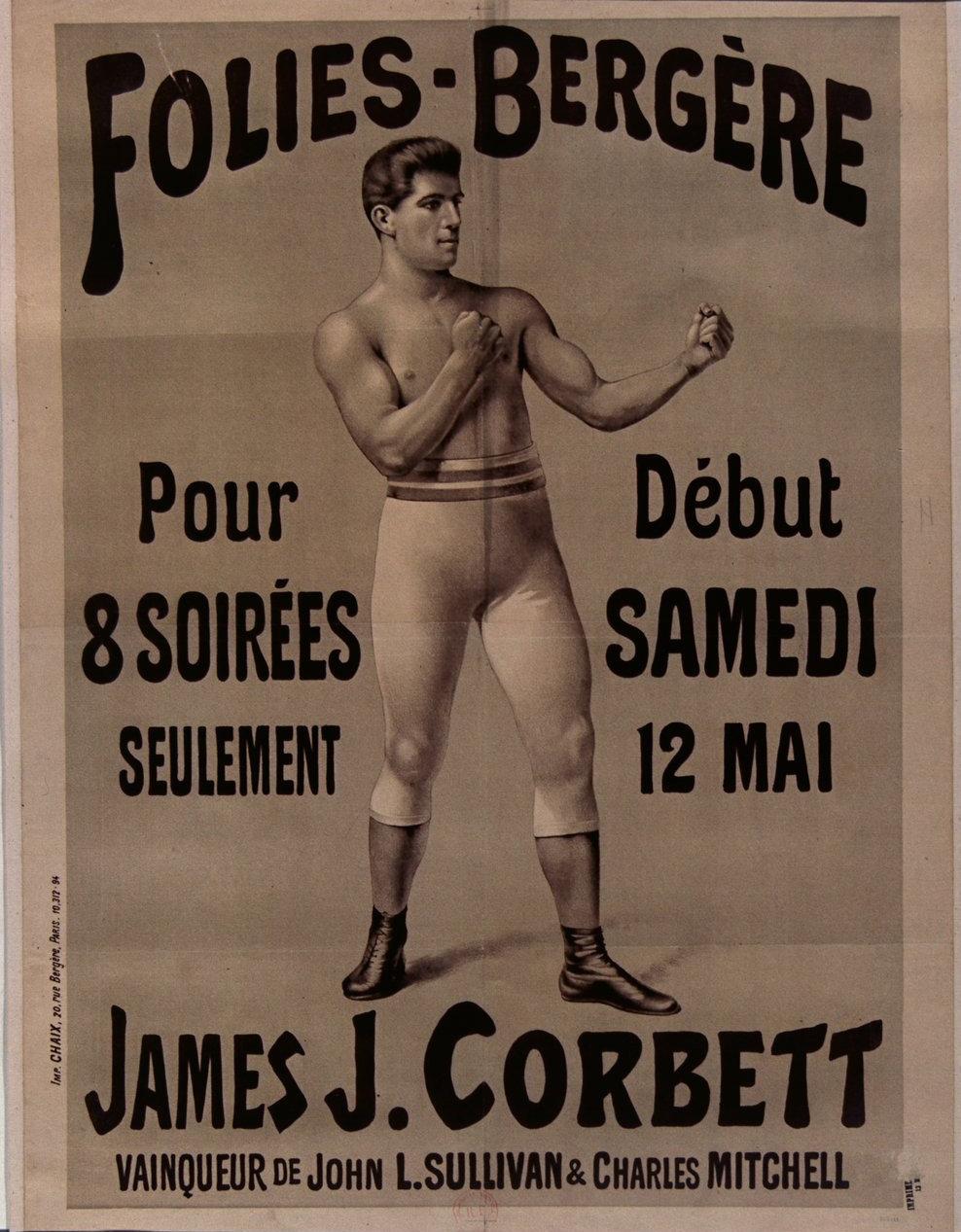 Folies-Bergère, James J. Corbett, 1890, unknown, Bibliothèque Nationale de France, Public Domain Mark